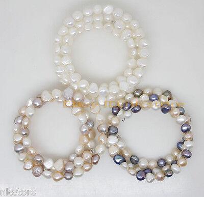 "wholesale 3pcs real white pink lilac black baroque pearl bracelet 7.5"" jewelry"