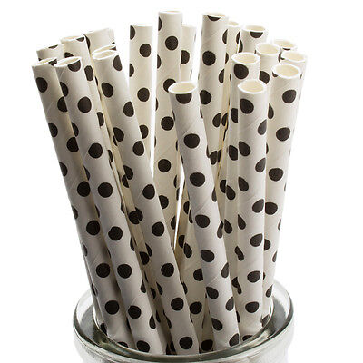 25 Red Polka Dot Paper Straws Cake Pop Sticks Retro Paper Straws High Grade