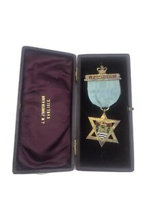 ANTIQUE-SILVER-amp-ENAMEL-MASONIC-JEWEL-MEDAL-BORDER-CITY-LODGE-BIRMINGHAM-1901