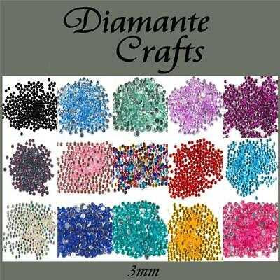 1mm Diamante Loose Flat Back Rhinestone Craft Gems Choose from 18 colours