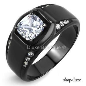 MEN-039-S-2-15-CT-CUSHION-CUT-SIMULATED-DIAMOND-BLACK-STAINLESS-STEEL-RING-SIZE-8-14