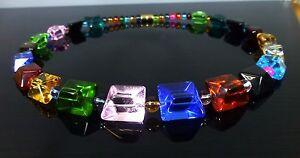 baf290f06566 Chunky Collar Moda Joyería Colgante Cadena Cristal Gargantilla Declaración  del arco iris