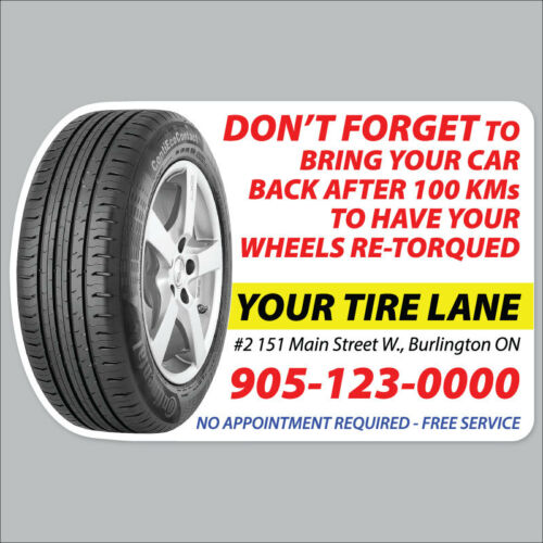 100 Fully Customized Tire Retorque Reminder Sticker Static Cling Low Tack Vinyl