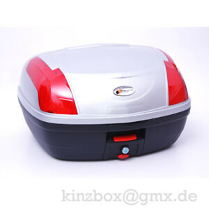 Top-Case-Koffer-058-SILBER-Quad-Motorrad-Roller-TopCase-Abnehmbar-Rollerkoffer
