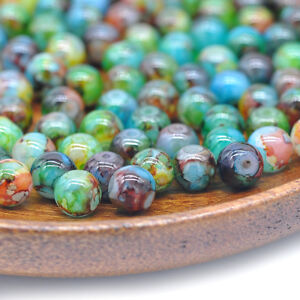 DIY-8mm-30PCS-Glass-Round-Pearl-Spacer-Loose-Beads-Pattern-Jewelry-Making