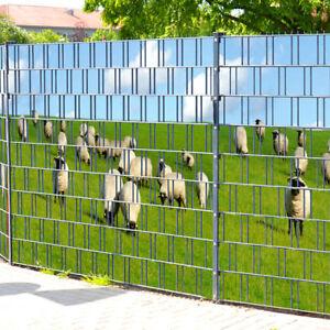 Baltrum bedruckter sichtschutz streifen doppelstabmatten for Sichtschutz stabmattenzaun