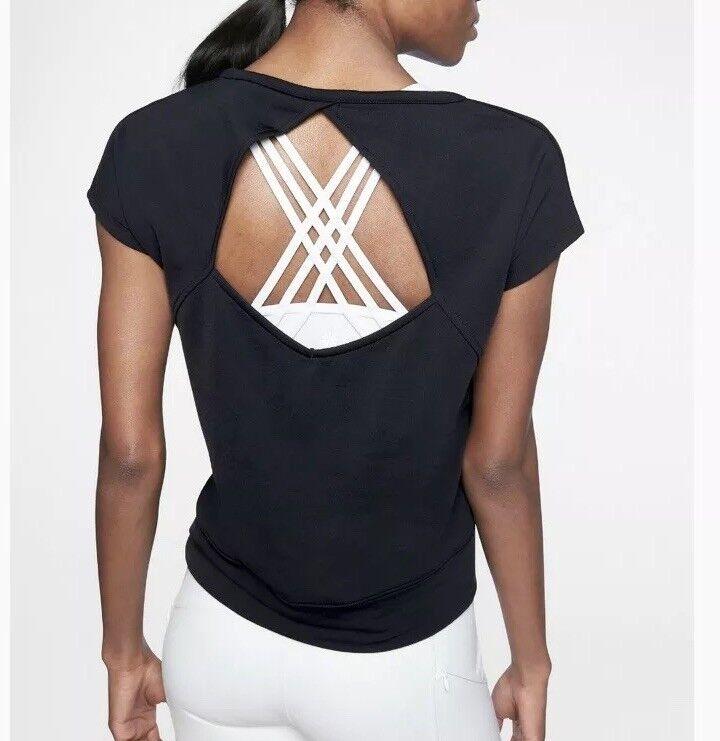 Athleta Offener Rücken T-Shirt XXS Schwarz Kurzarm Hemd Oberteil Schlüsselloch