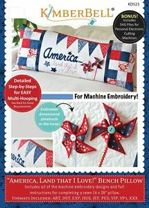 KimberBell-Machine-Embroidery-CD-America-Land-That-I-Love-Bench-Pillow-KD523