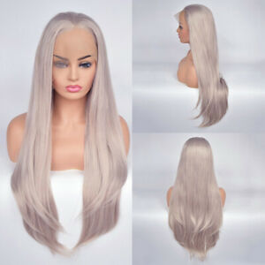 Womens-Sliver-Grey-Ombre-Long-Straight-Wig-Lace-Front-Full-Hair-Heat-Resistance