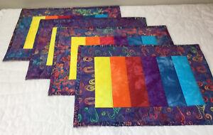 Four Patchwork Quilt Placemats, Hand Made, Contemporary Prints, Vivid Colors