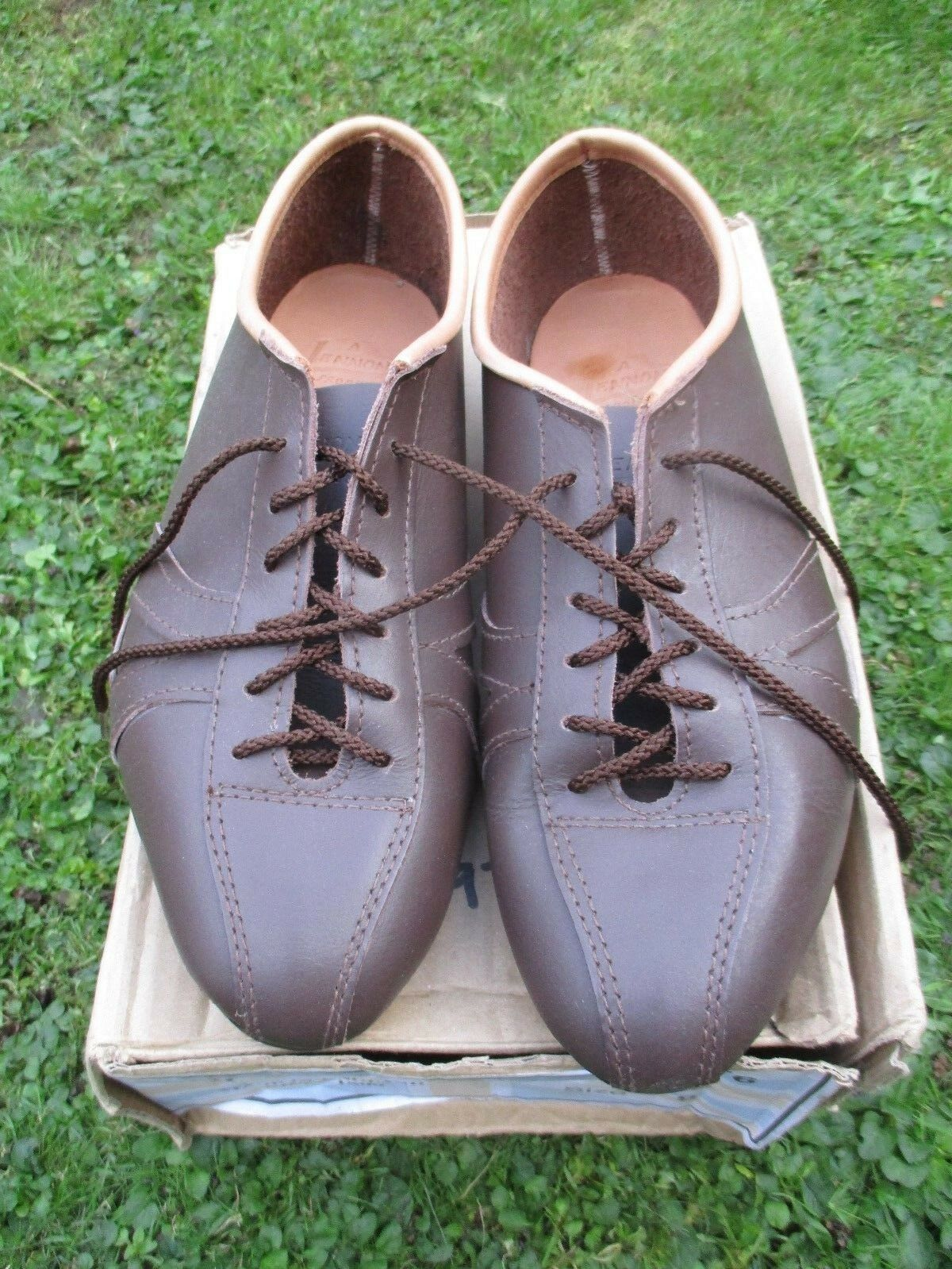 Leather cycling shoes vintage classic eroica retro style Brown