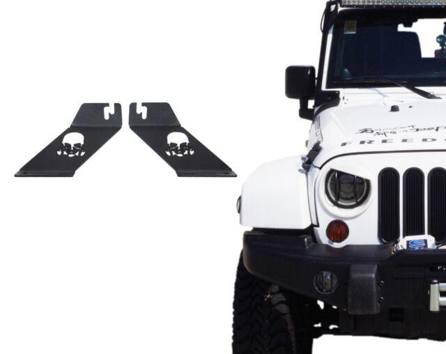 """22/"""" LED Work Light Bar 07-18 Jeep Wrangler JK Hood Mounting Brackets For 20/"""""""
