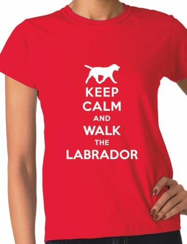 Keep Calm Walk The Labrador KC Dog Lovers Gift Ladies T Shirt Size S-XXL