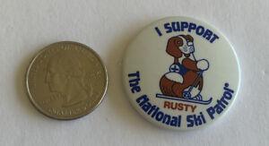 Rusty-The-National-Ski-Patrol-Vintage-Pinback-Button