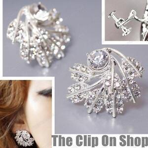 CLIP-ON-screw-CRYSTAL-EARRINGS-leaves-VINTAGE-LEAF-SPRAY-silver-rhinestone-glass
