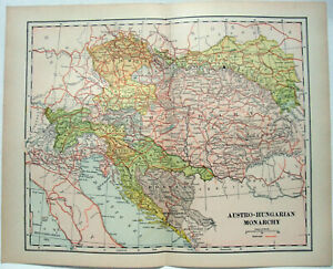 Original-1895-Map-of-Austria-Hungary-by-Dodd-Mead-amp-Company-Antique