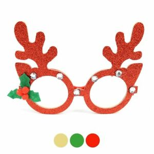 Red /& Green Festive Glitter MERRY CHRISTMAS NOVELTY GLASSES holiday party