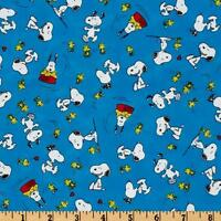 "Happiness is Peanut Snoopy & Woodstock Toss 100% cotton 44"" fabric by the yard"