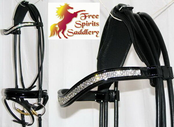 FSS Curve U CRYSTAL BLING Rolled German Crank Comfort Padded PATENT GLOSS Bridle