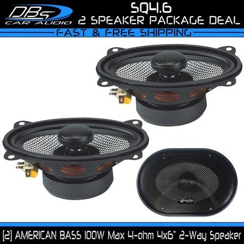 "2 American Bass SQ4.6 4x6/"" 2-Way Fullrange Coaxial Car Audio Speaker 200W 4-ohm"