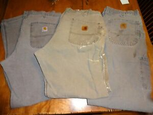 Lot of 3 Carhartt Pants 36x32 (2) Dungaree (1) Relaxed Fit USED with Wear