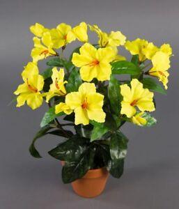 hibiskus 40cm gelb im topf zf k nstliche pflanzen kunstpflanzen kunstblumen ebay. Black Bedroom Furniture Sets. Home Design Ideas