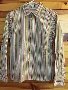 44949302 J. CREW* Women's Purple/White/Pink/Green/Red Striped Button Down ...