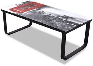 Modern Small Glass Coffee Table Home Living Room Black Metal