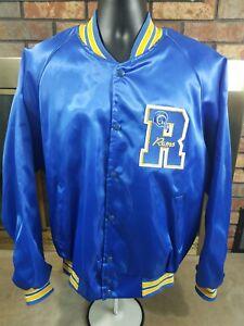 13d98ae5 Details about Los Angeles Rams Satin Snap NFL Football Jacket Mens L.A.  Large Vintage Blue 80s