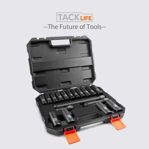 CR-V TACKLIFE Complete 1//2-Inch Drive Deep Impact Socket Set Metric 6 Point,