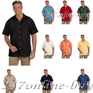 3e551ef73df06 Harriton Button Down Camp Shirt Men s Short Sleeve Barbados Textured ...