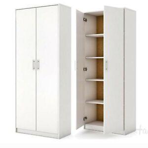 Mehrzweckschrank-Kommode-Kleiderschrank-Stauraumkommode-Hochschrank-weiss-180cm