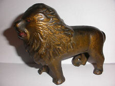 Original Antique Cast Iron A.C.Williams Lion Tail to the Right Still money Bank