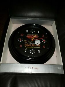 New-In-Box-Red-Neon-Texas-Hold-039-em-Poker-Wall-Clock