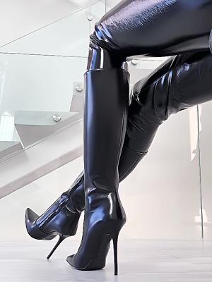 Dettagli su Fetish Pelle Tacco Alto Z23 Stivali 1969 ITALY LUXURY LEATHER CAT WOMAN BOOTS 40