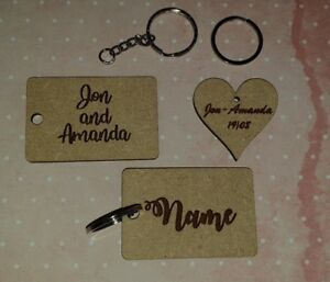 Details about Laser Cut & Engraved MDF Wood or Clear Acrylic - Personalised  Key Rings