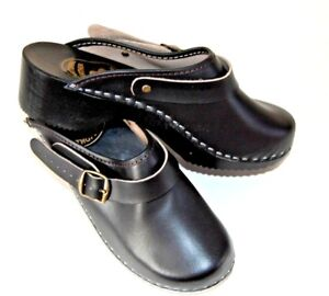 Mens Leather Clogs Sandals Wood / Rubber Sole Flip Flop Shoes Adjustable Strap