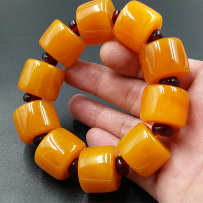 BEAUTIFUL BALTIC AMBER old Beeswax big size Bracelet 5A 4