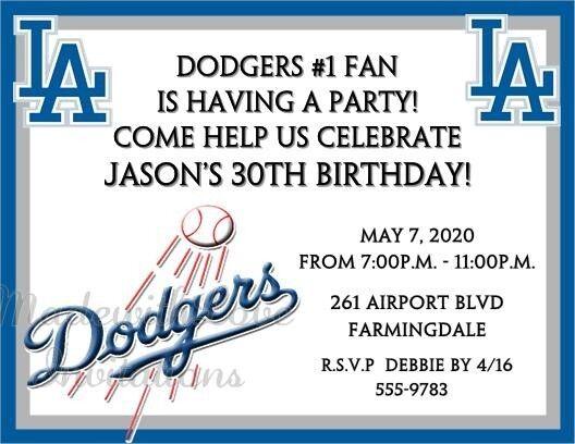 10 los angeles dodgers baseball printed invitations birthday party 10 los angeles dodgers baseball printed invitations birthday party any team filmwisefo