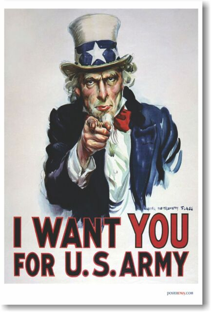 I Want You for US Army - Uncle Sam - NEW Vintage Reprint POSTER