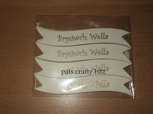 25 Brysiwch Wella Welsh Banners Foiled Gold On Cream Card