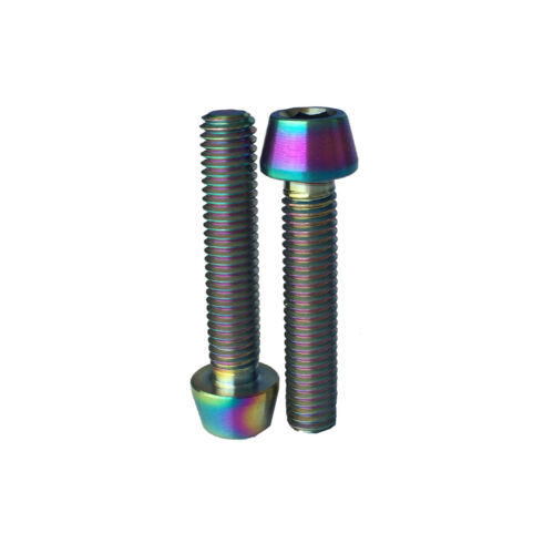 2 X Bike Colorful Titanium Grade 5 Allen Hex Tapered Head Bike Bolt Screw M5X25