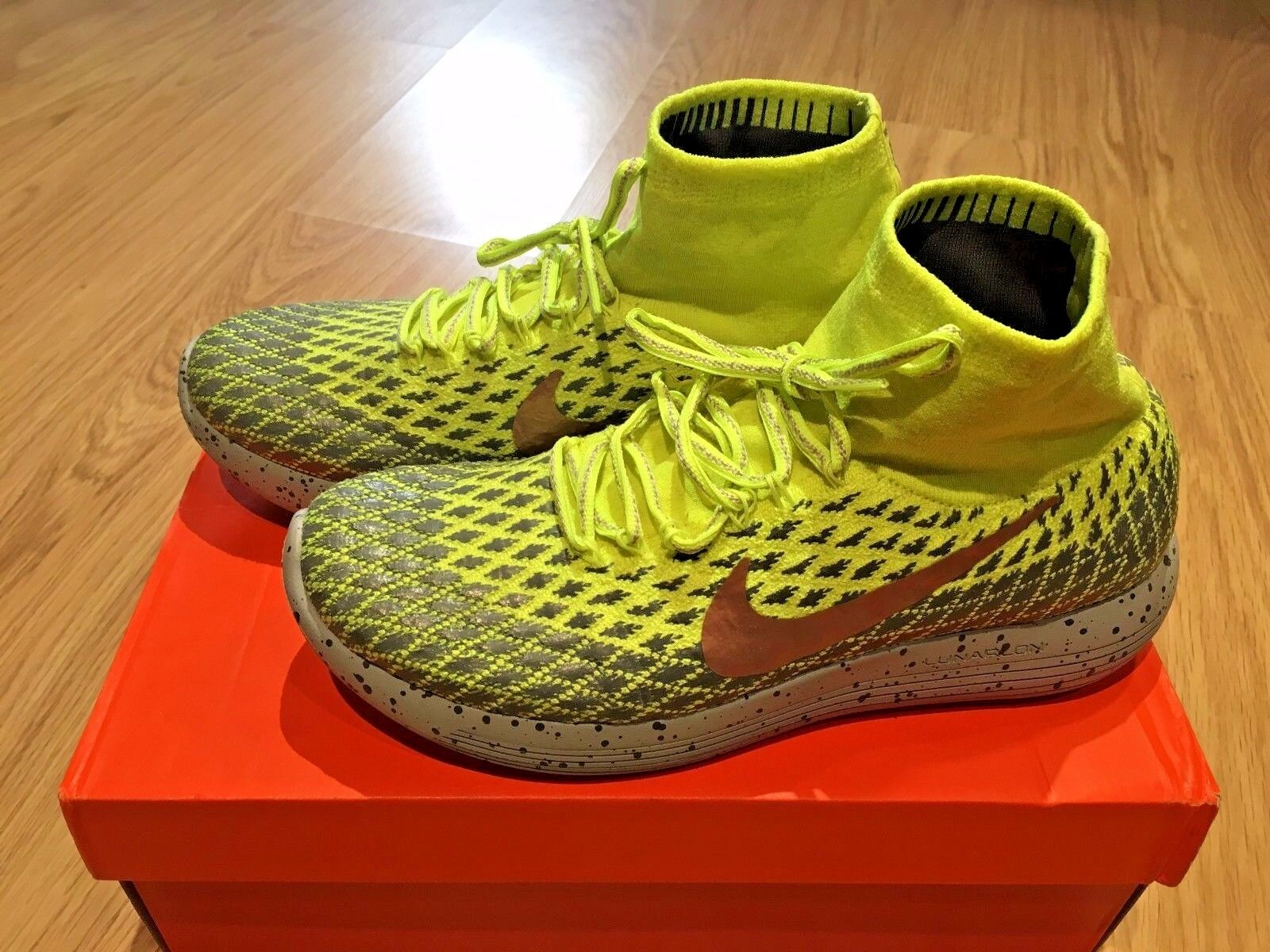 NIKE LunarEpic Flyknit Shield Volt Grey Bronze SIZE 8.5 US 42 EU (PRE-OWNED)