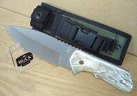 Superb Strider Solution 888 Buck Knife Elk Antler Handle Ats34 Ss Blade + Sheath