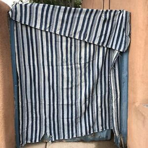 Handmade-Antique-African-Indigo-Striped-Blanket-Shawl-Stole-Towel-Curtain