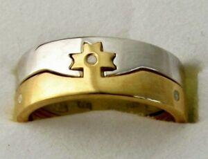 3d4ee5331117d Men's 2-Ring Diamond Cross Ring / sz 12 / 925 Sterling & 14K Gold ...