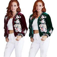 Sport Women Fashion Embroidered Velvet Bomber Jacket Tiger Baseball Outwear Coat