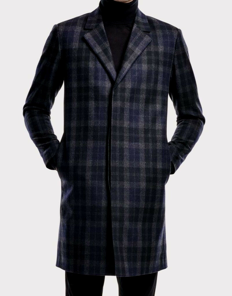 NWT  845 Theory Slim Fit Three-Button Check Wool Blend Overcoat Größe M