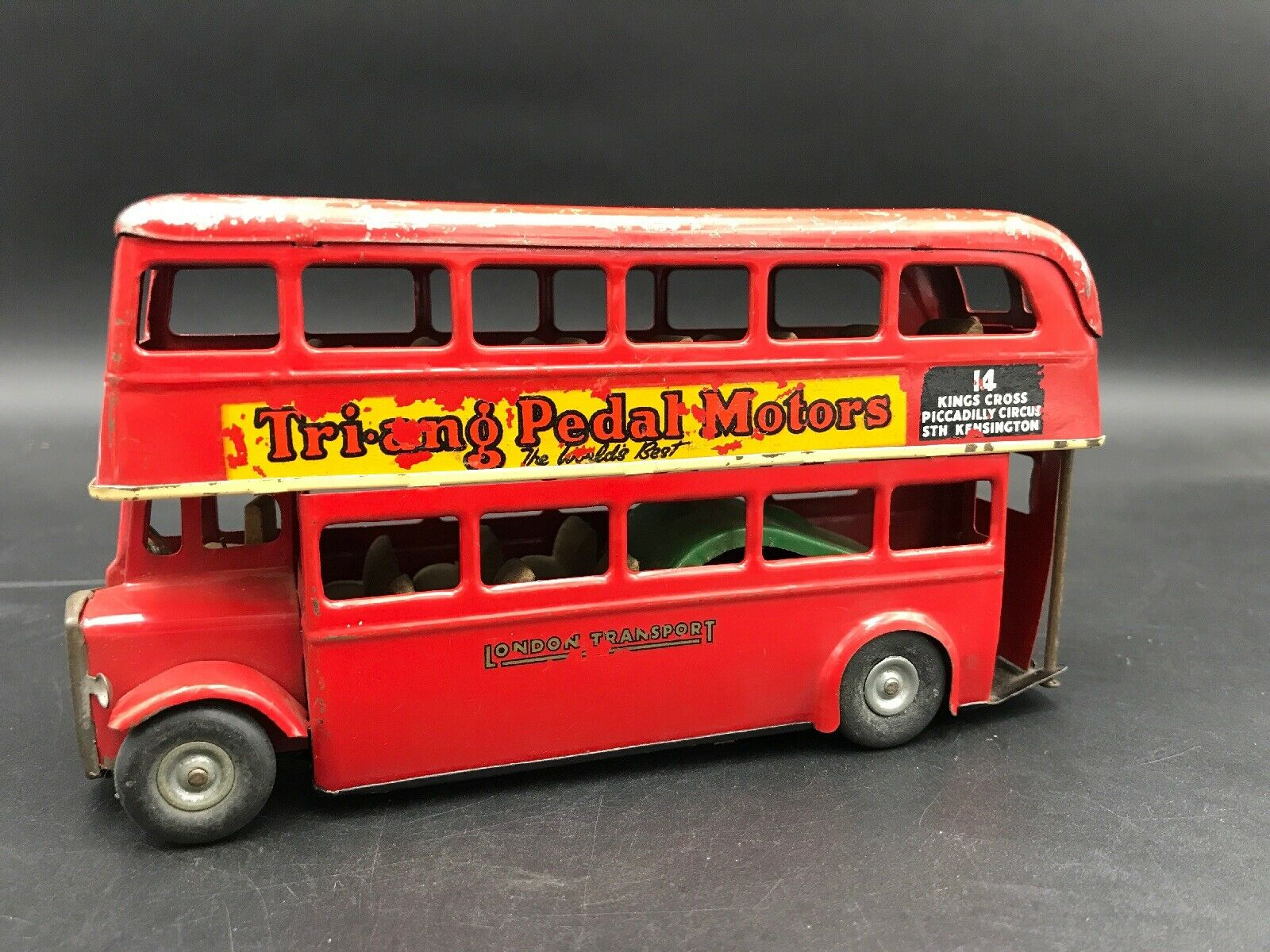 Vintage London Double Decker Bus Tri Ang Minic Made in England Metal Large 7