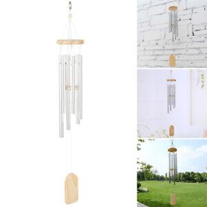 Carillon-a-vent-en-bois-suspendu-Traditionnel-Fenetre-Jardin-Metal-37cm-M-CWME